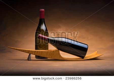 Wine bottles on stand
