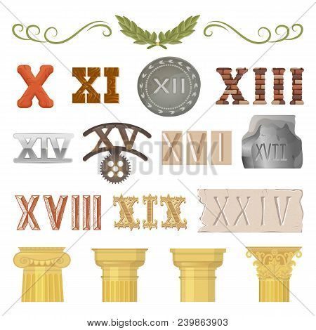 Ancient Vector Historical Antique Architecture Of Rome Empire And Roman Numbers Illustration Ancient
