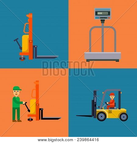 Warehouse Shipping Worker And Delivery Flat Elements Vector Illustration. Storage Business Industry