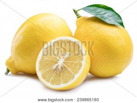 Ripe lemon fruits with lemon leaf on the white background.