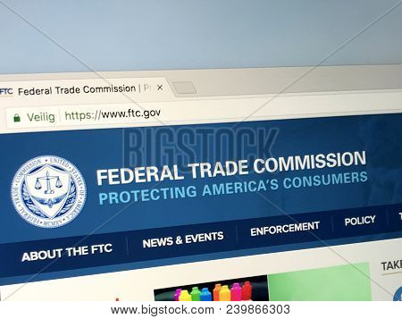 Amsterdam, Netherlands - June 1, 2018: Website Of The Federal Trade Commission, Ftc. This United Sta