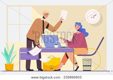 Two Experienced Business Executives In A Meeting Seated At A Table Discussing Paperwork And Informat