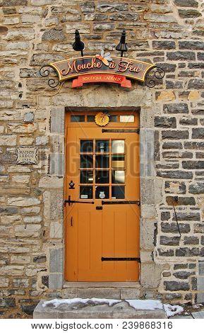 Quebec City - Jan. 22, 2010: Antique Gate Of Historic Quebec Stone House, Quebec City, Quebec, Canad