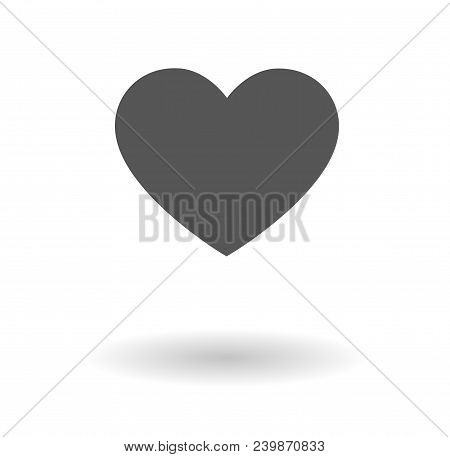 Grey Heart Vector Icon Isolated Over White Background
