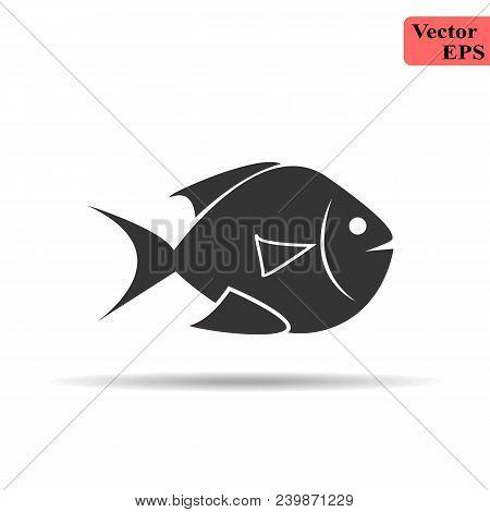 Illustration Of Fish Icon On White Background Eps 10