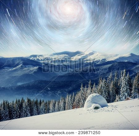 Starry Sky In Winter Snowy Night. Fantastic Milky Way In The New Year's Eve. Courtesy Of Nasa. In An