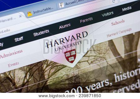 Ryazan, Russia - May 08, 2018: Harvard Website On The Display Of Pc, Url - Harvard