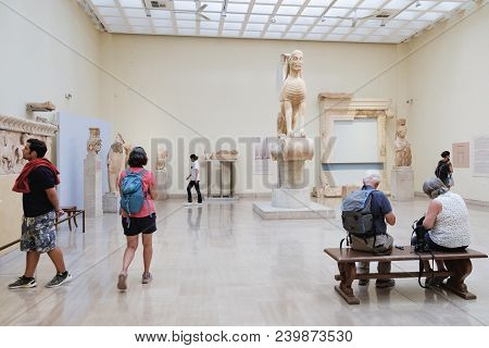 Delphi, Greece - September 21, 2017: The Mythical Sphinx Of Naxos Statue Stands On The Pedestal In A