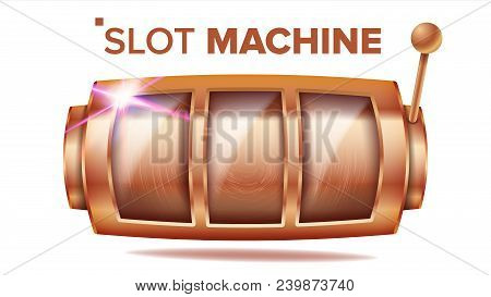 Slot Machine Vector. Bronze Lucky Empty Slot. Bingo Background Design. Spin Machine Template. Fortun