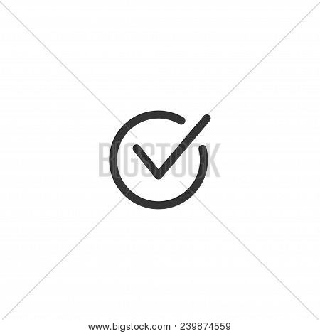 Tick Icon Vector Symbol Doodle Style Checkmark Isolated On White Background, Checked Icon Or Correct