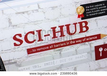 Ryazan, Russia - May 08, 2018: Sci-hub Website On The Display Of Pc, Url - Sci-hub.tw.