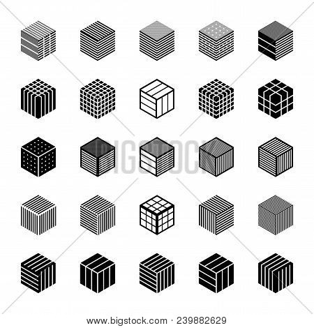 Design Elements Set. Cubic Shape Icons. Abstract Hexagons. Vector Art.