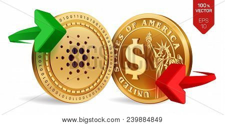 Cardano To Dollar Currency Exchange. Cardano. Dollar Coin. Cryptocurrency. Golden Coins With Cardano