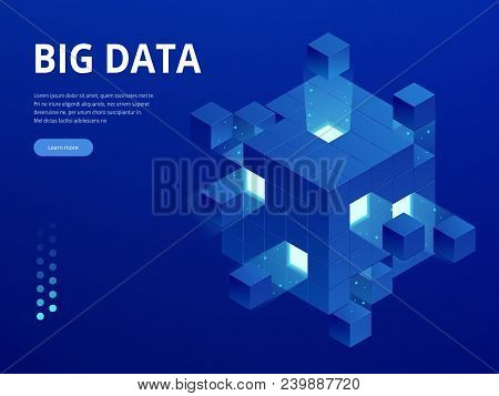 Isometric Digital Technology Web Banner. Big Data Machine Learning Algorithms. Analysis And Informat
