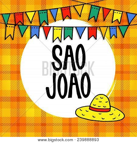 Sao Joao Or Festa Junina, Brazilian June Party Greeting Card, Invitation. Garland Of Hand Drawn Flag