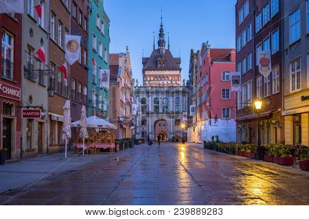 Gdansk, Poland - May 5, 2018: Architecture of the old town in Gdansk at dawn, Poland. Gdansk is the historical capital of Polish Pomerania with beautiful architecture.