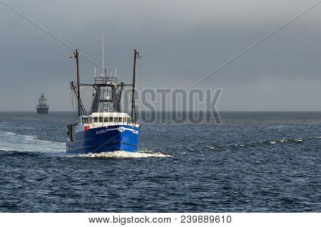 New Bedford, Massachusetts, Usa - May 9, 2018:  Commercial Fishing Vessel Alaska, Hailing Port Seafo