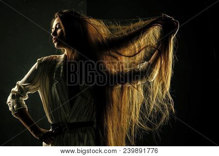 Beauty Salon And Fashion. Haircare And Shampoo. Hairdresser And Barber. Woman With Stylish Long Hair