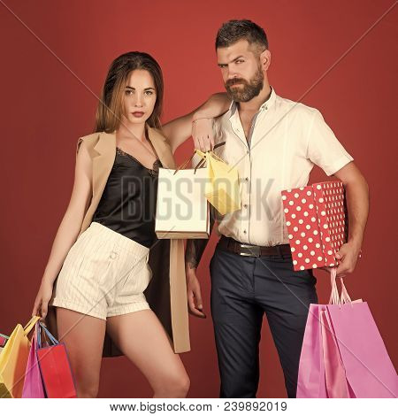 Fashion Shopaholic Couple. Black Friday, Happy Holiday, Relations. Shopping And Sale. Couple In Love
