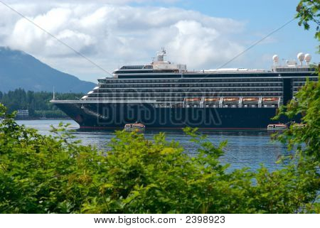 Cruise Ship At Port In Alaska
