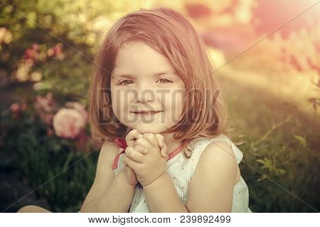 Germination and growth. Innocence, purity and youth concept. Child sitting at blossoming rose flowers on green grass. Girl smiling with folded hands in summer garden. Future and flourishing. poster