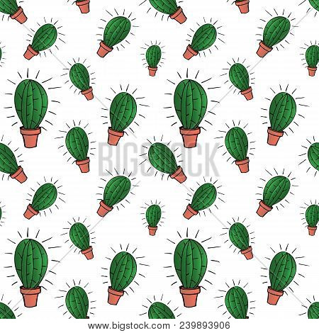 Home Green Cactus In Brown Pot In Gradient Colors, Seamless Pattern Isolated On White Background, St