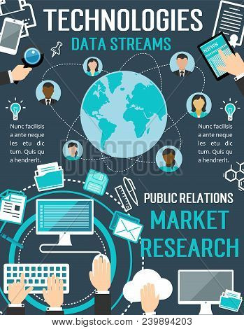 Technologies Data Streams Vector Poster For Public Relations Market Research Or Internet Communicati