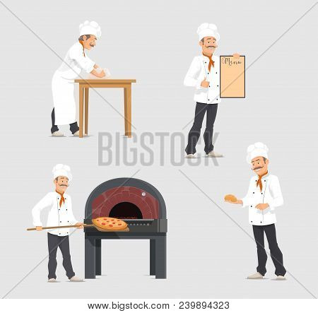 Bakery Shop And Baker At Bakehouse. Vector Flat Design Of Baker At Work Or Baker Man With Baked Fres