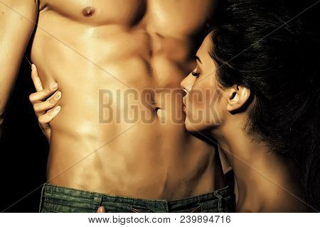 Closeup Of Undressed Sensual Pair Of Young Brunette Lady Embracing And Kissing Man With Beautiful Mu