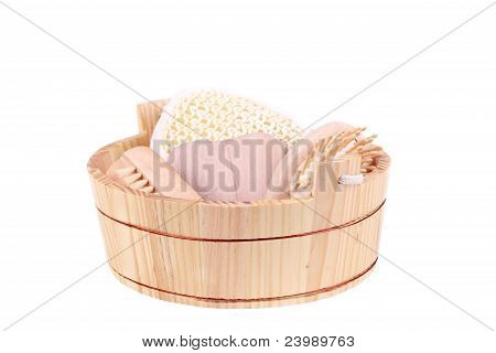 set of accessories for sauna and bath