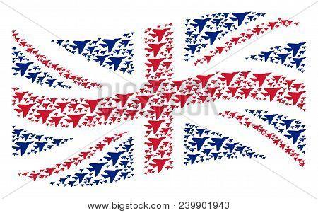 Waving British Flag Pattern Composed Of Airplane Intercepter Icons. Vector Airplane Intercepter Desi