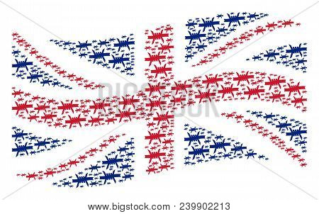Waving Great Britain State Flag Pattern Designed Of Barbed Wire Pictograms. Vector Barbed Wire Desig