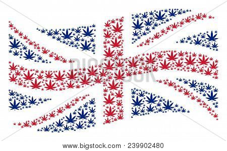 Waving Great Britain Flag Composition Made Of Cannabis Icons. Vector Cannabis Design Elements Are Un