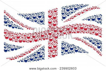 Waving British State Flag Concept Constructed Of Chemistry Tube Icons. Vector Chemistry Tube Icons A