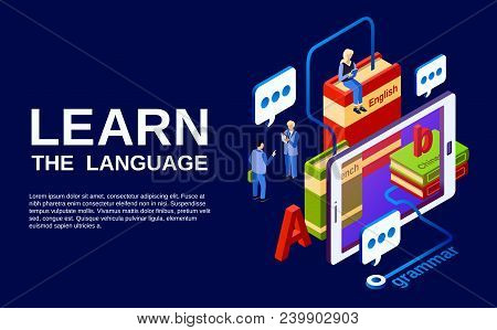 Learn Language Vector Illustration, Study Of Foreign Languages Concept. Isometric Advertising Poster
