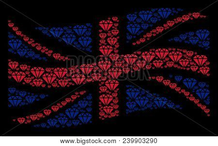 Waving British Official Flag Mosaic Combined Of Diamond Pictograms. Vector Diamond Pictograms Are Un