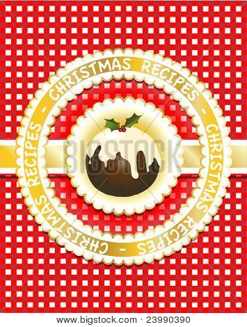 Gingham Christmas recipe book cover with traditional fig pudding. Scrapbook style. Also available in vector format.