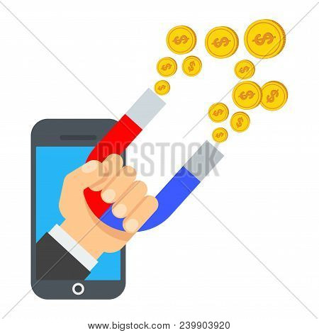 Attraction Of Money In Smartphone. Flat Vector Cartoon Illustration. Objects Isolated On White Backg