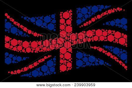Waving British State Flag Collage Constructed Of Filled Hexagon Pictograms. Vector Filled Hexagon Ic