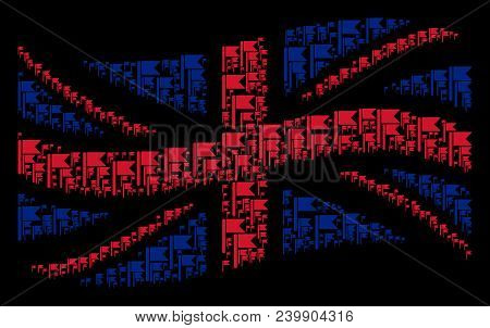 Waving Uk Flag Composition Made Of Flag Design Elements. Vector Flag Items Are Organized Into Concep