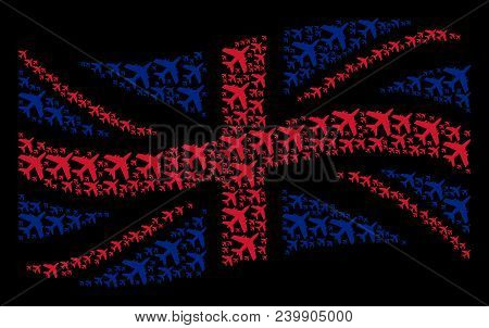 Waving Uk Official Flag Mosaic Constructed Of Jet Plane Icons. Vector Jet Plane Icons Are United Int