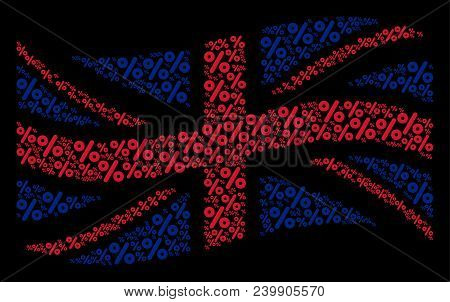 Waving English State Flag Composition Created Of Percent Elements. Vector Percent Pictograms Are Com