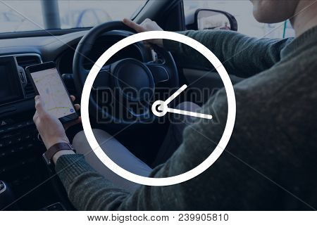 Clock icon against man in the car