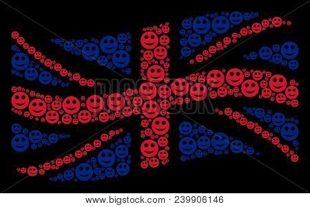 Waving British Flag Mosaic Made Of Smile Icons. Vector Smile Icons Are Formed Into Geometric British