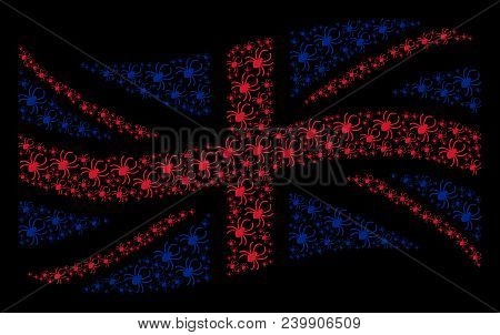 Waving British Official Flag Composition Composed Of Spider Pictograms. Vector Spider Elements Are C