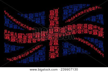 Waving Great Britain state flag mosaic organized of Uncle Sam hat pictograms. Vector Uncle Sam hat elements are formed into conceptual UK flag composition. poster