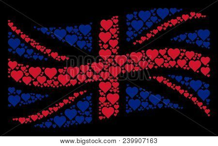 Waving British Official Flag Composition Done Of Valentine Heart Icons. Vector Valentine Heart Items