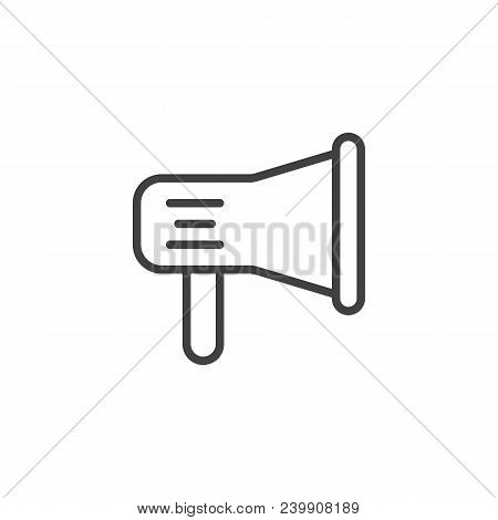 Megaphone Outline Icon. Linear Style Sign For Mobile Concept And Web Design. Loudspeaker Simple Line