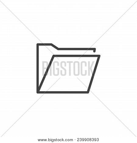 Folder Outline Icon. Linear Style Sign For Mobile Concept And Web Design. File Folder Simple Line Ve