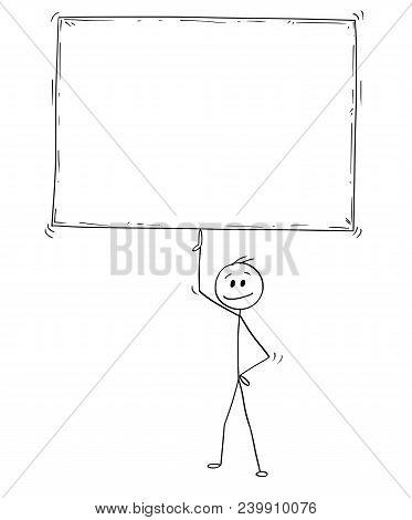 Cartoon Stick Man Drawing Conceptual Illustration Of Businessman Holding And Balancing Big Empty Or